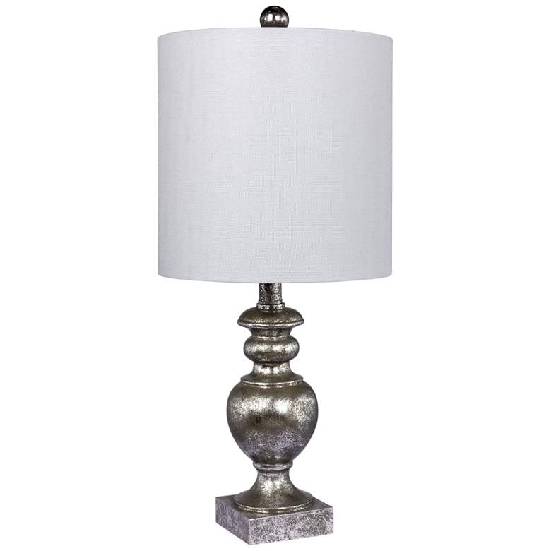 Cairo Antiqued Silver Leaf Textured Urn Accent Table Lamp