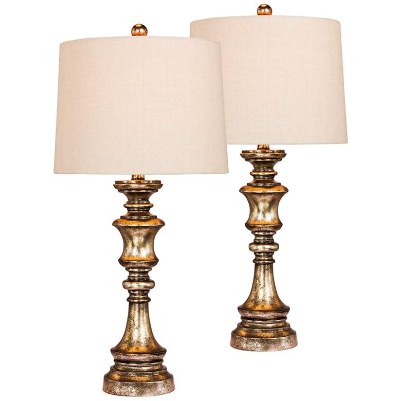 Wrigley Gold Leaf with Brown Wash Table Lamp Set of 2