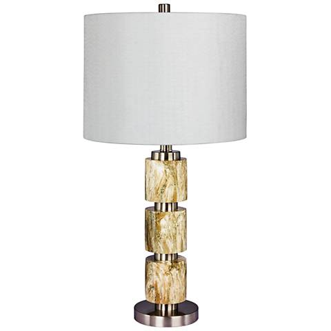 Rowland Brown Faux Marble w/ Steel Stacked Table Lamp