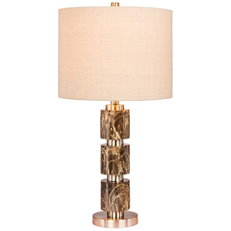 Rowland Green Faux Marble w/ Steel Stacked Table Lamp