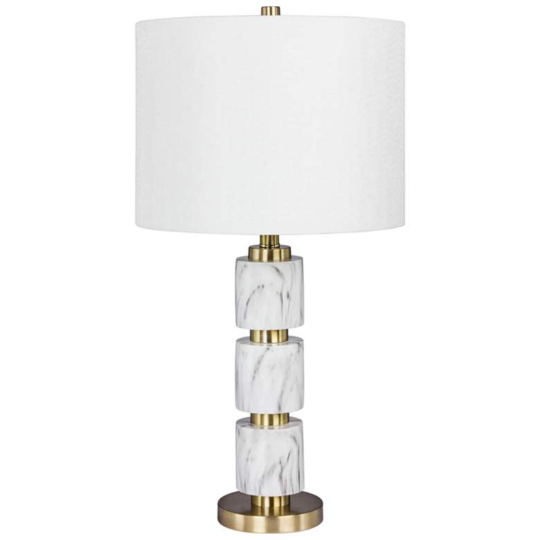 Rowland White Faux Marble w/ Satin Brass Stacked Table Lamp