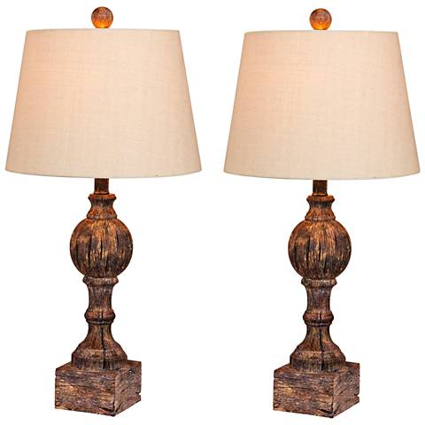 Nashua Cottage Antique Brown Column Table Lamp Set of 2