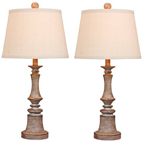 Enrico Cottage Weathered Gray Table Lamp Set of 2