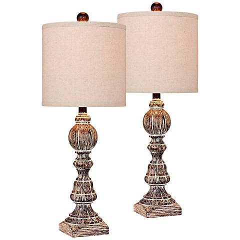 McLaren Cottage Antique Brown Balustrade Table Lamp Set of 2