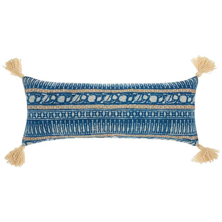 "Life Styles Blue Boho Stitch Print 33""x 13"" Throw Pillow"