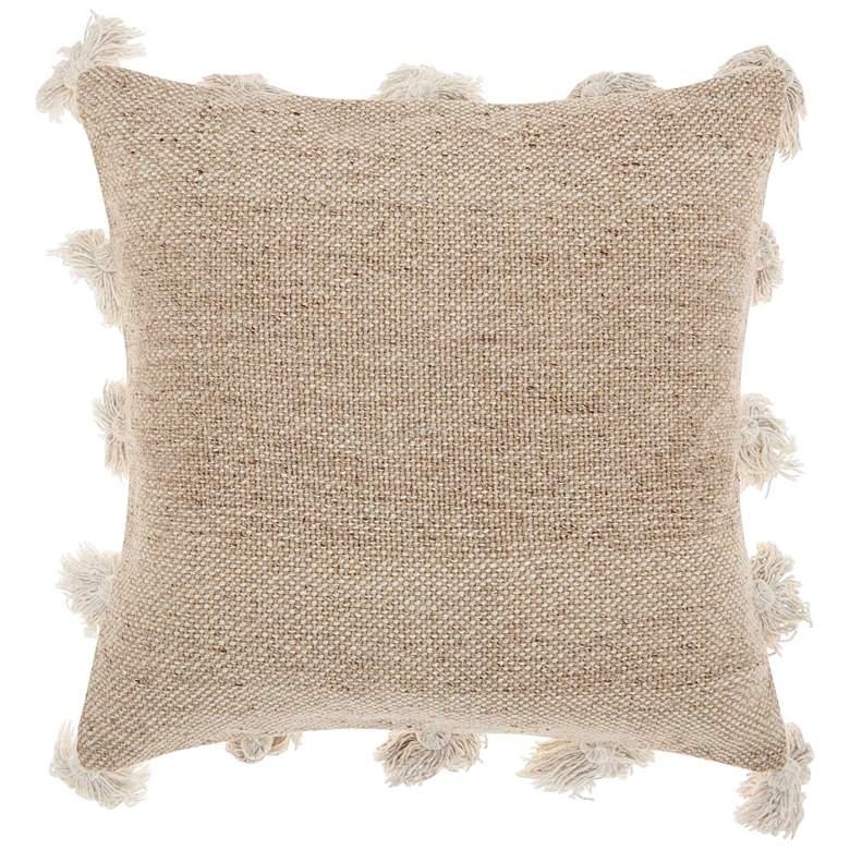 "Life Styles Beige Tassel Border 18"" Square Throw Pillow"