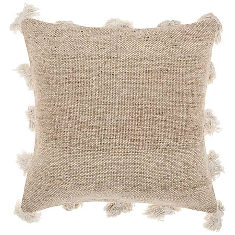 "Life Styles Beige Tassel Border 18"" Square Throw Pillow"