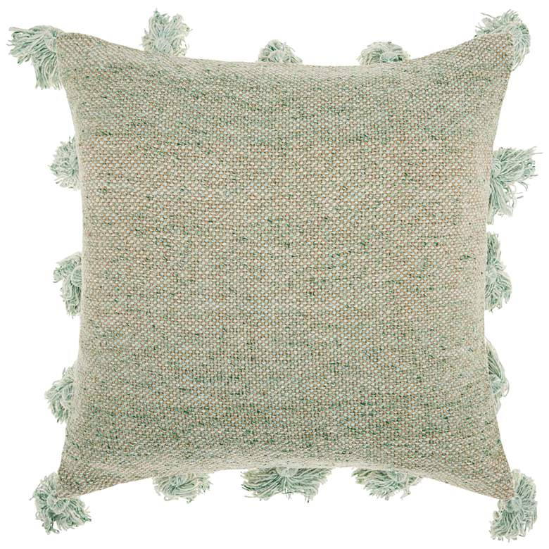 "Life Styles Celadon Tassel Border 18"" Square Throw"