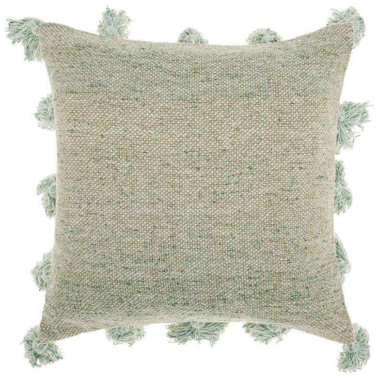 """Life Styles Celadon Tassel Border 18"""" Square Throw Pillow"""