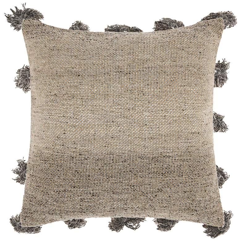 "Life Styles Dark Gray Tassel Border 18"" Square Throw Pillow"