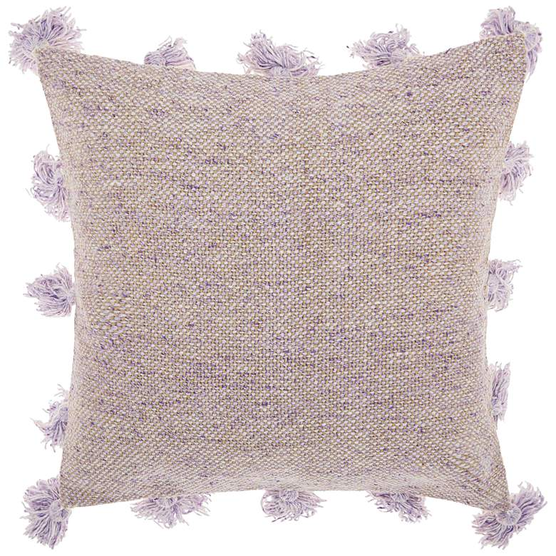 "Life Styles Lavender Tassel Border 18"" Square Throw"