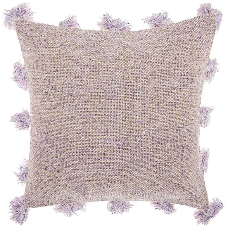 "Life Styles Lavender Tassel Border 18"" Square Throw Pillow"