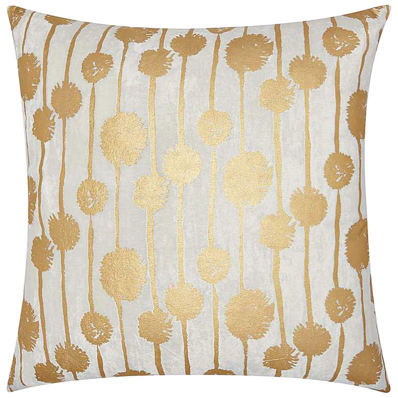"Luminecence Gold Metallic Dandelions 20"" Square Pillow"