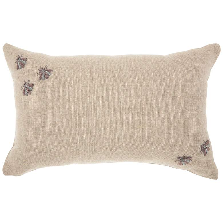 """Couture Luster Linen Corner Embellished Bees 20""""x 12"""" Pillow"""