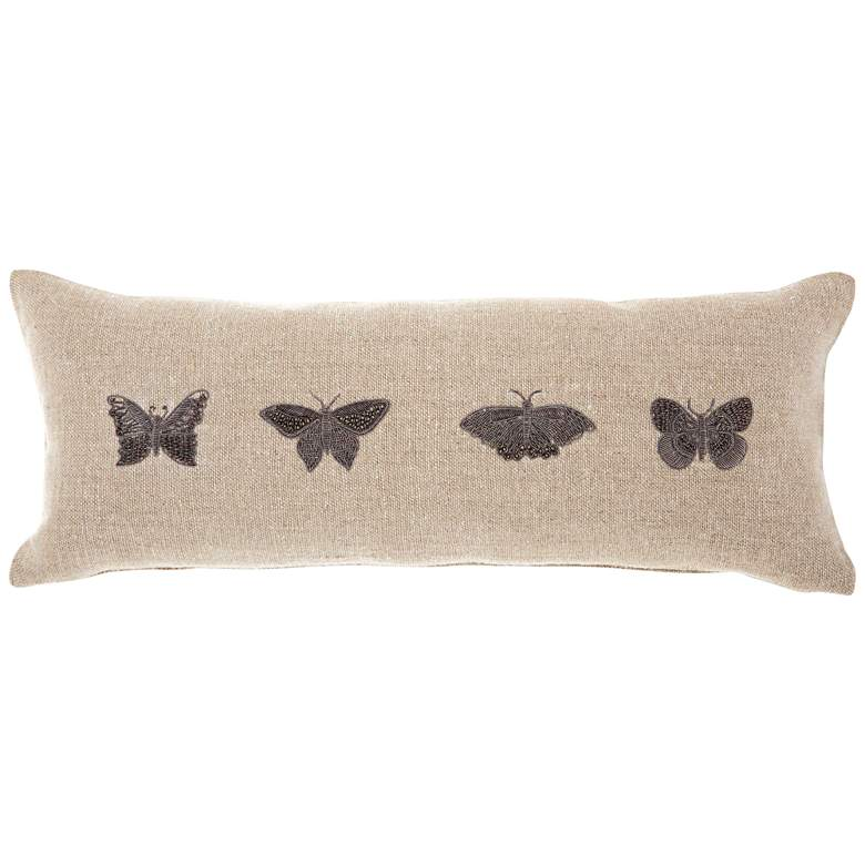 "Couture Luster Linen Embellished Butterflies 20""x 8"" Pillow"