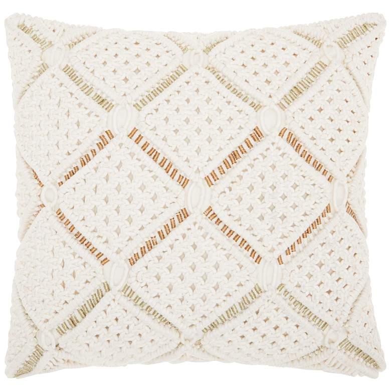 "Luminecence White Macrame Diamonds 20"" Square Throw Pillow"