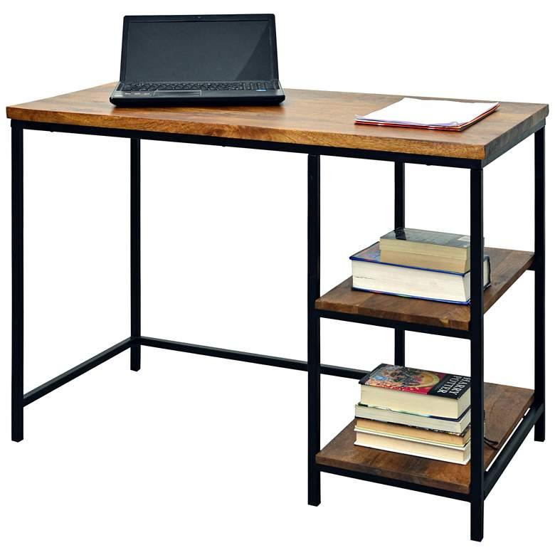 "Suri 71"" Wide Metal and Chestnut Wood 2-Shelf Desk"