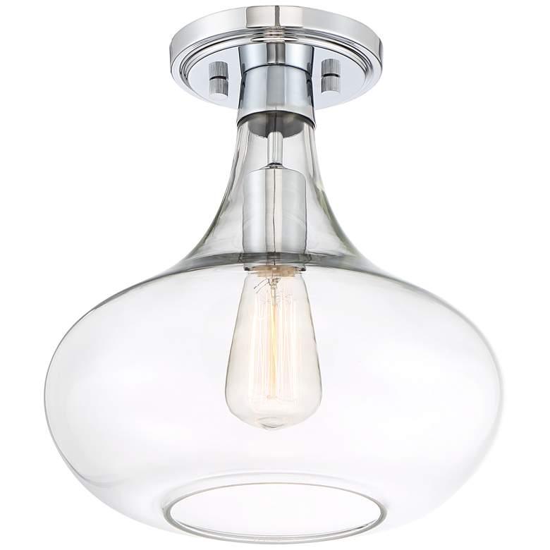 """Possini Euro Design Cecil 11"""" Wide Chrome Ceiling Light"""