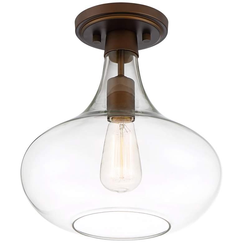 """Possini Euro Cecil 11"""" Wide Bronze Glass Ceiling Light"""