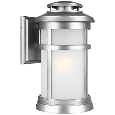 "Feiss Newport 16""H Painted Brushed Steel Outdoor Wall Light"