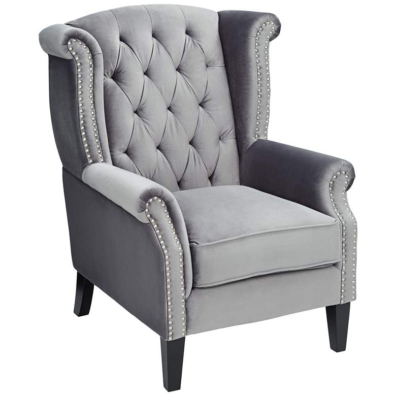 Williamsburg Gray Tufted Wingback Armchair
