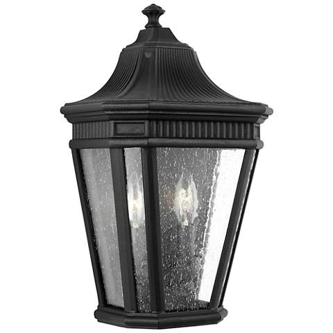 "Feiss Cotswold Lane 16"" High Black Outdoor Wall Light"