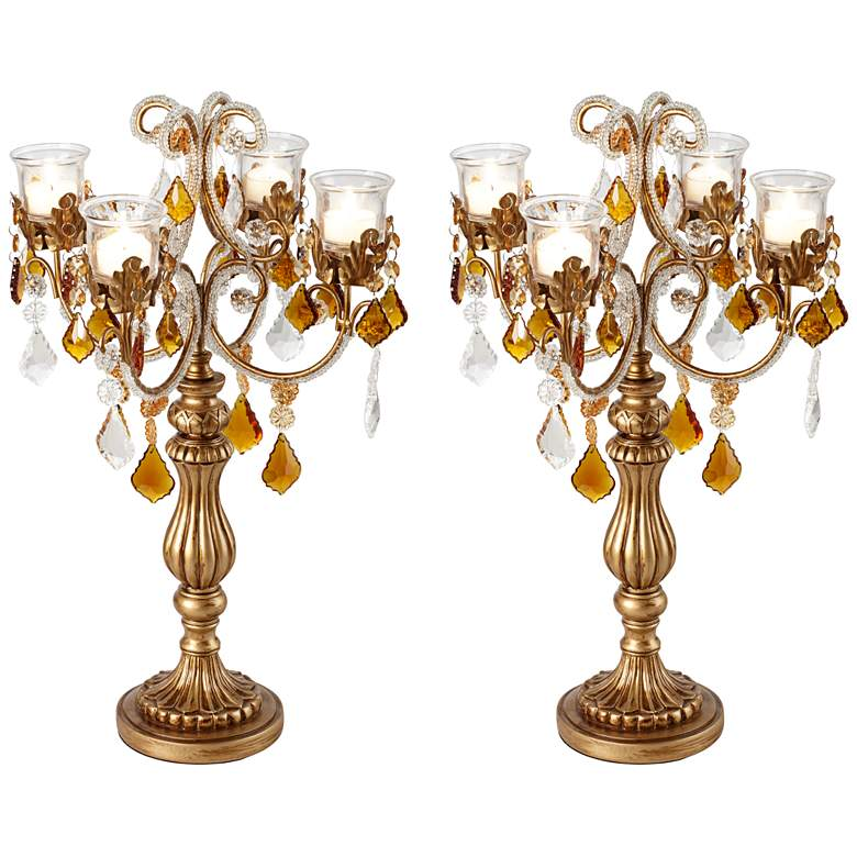Golden Droplets Candelabra Votive Candle Holder Set of 2