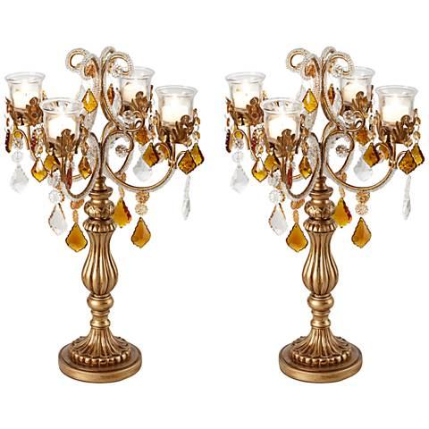 Golden Droplets Candelabra Votive Candle Holder Set of 2