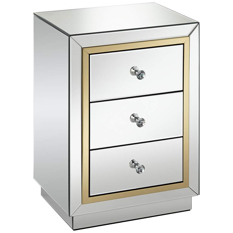 Laila Gold-Trimmed Mirrored 3-Drawer Side Table