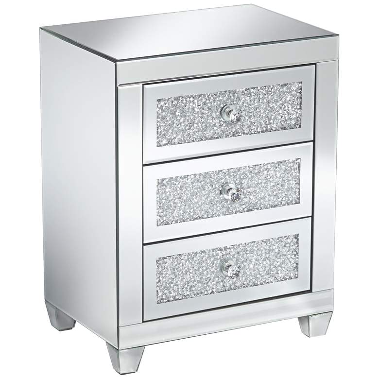 """Gia 20"""" Wide Mirrored Silver 3-Drawer Side Table"""