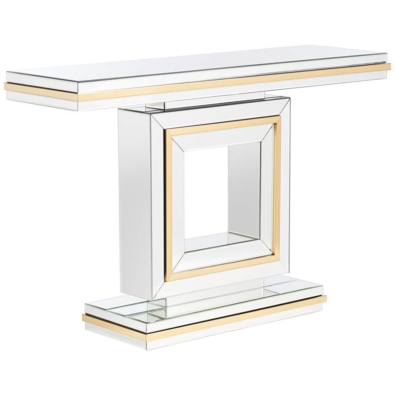 """Laila 48"""" Wide Gold-Trimmed Mirrored Console Table"""