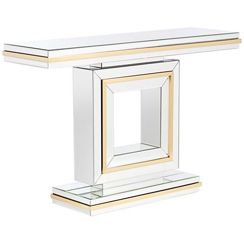 Laila Gold-Trimmed Mirrored Console Table