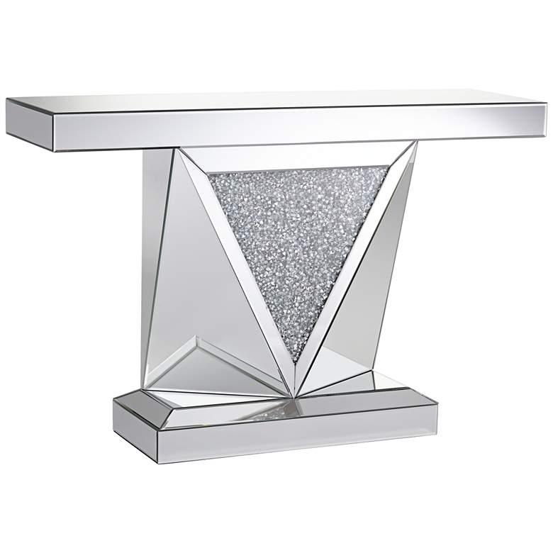 "Milla 47 1/2"" Wide Geometric-Cut Mirrored Console Table"