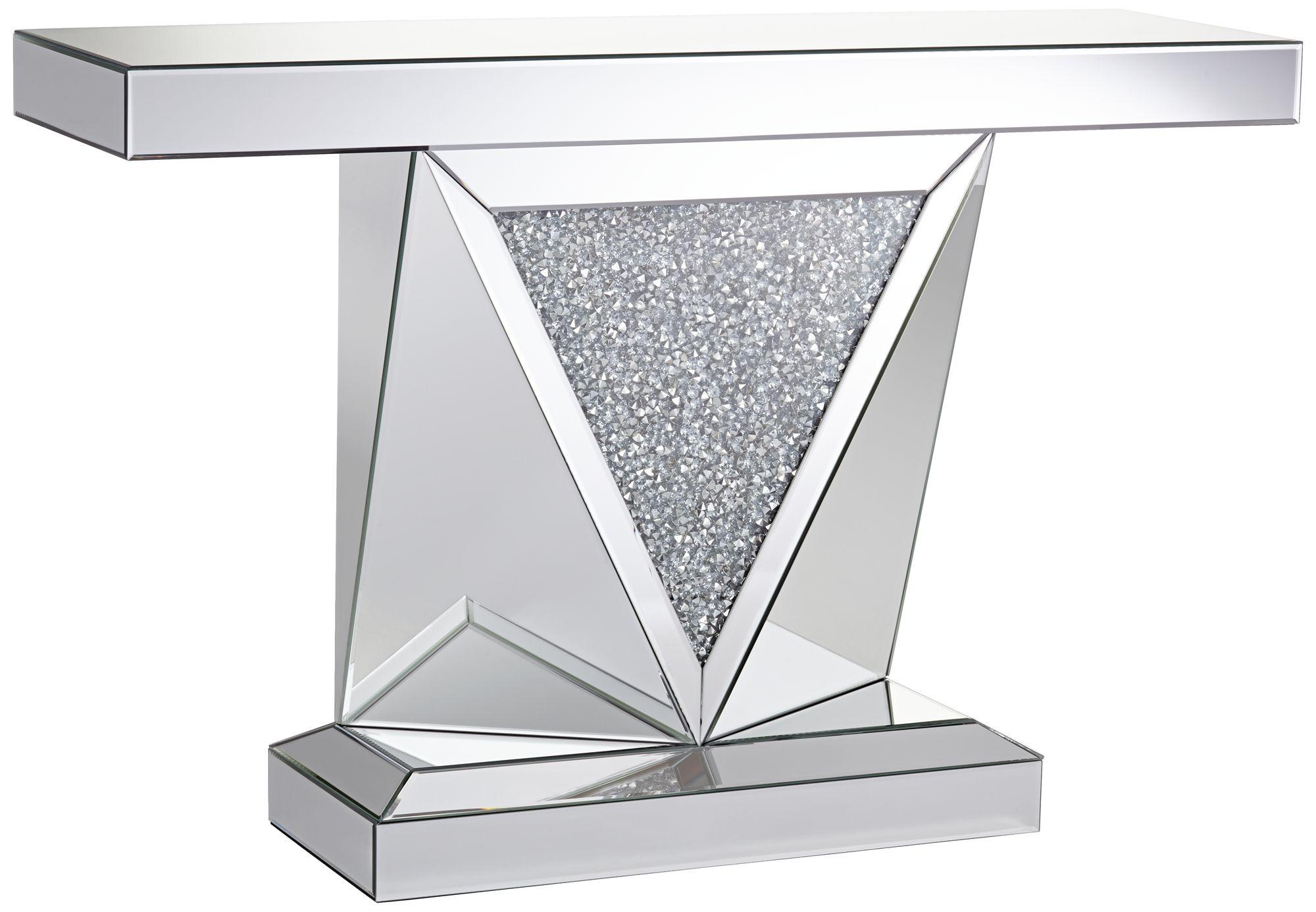Milla Geometric Cut Mirrored Console Table