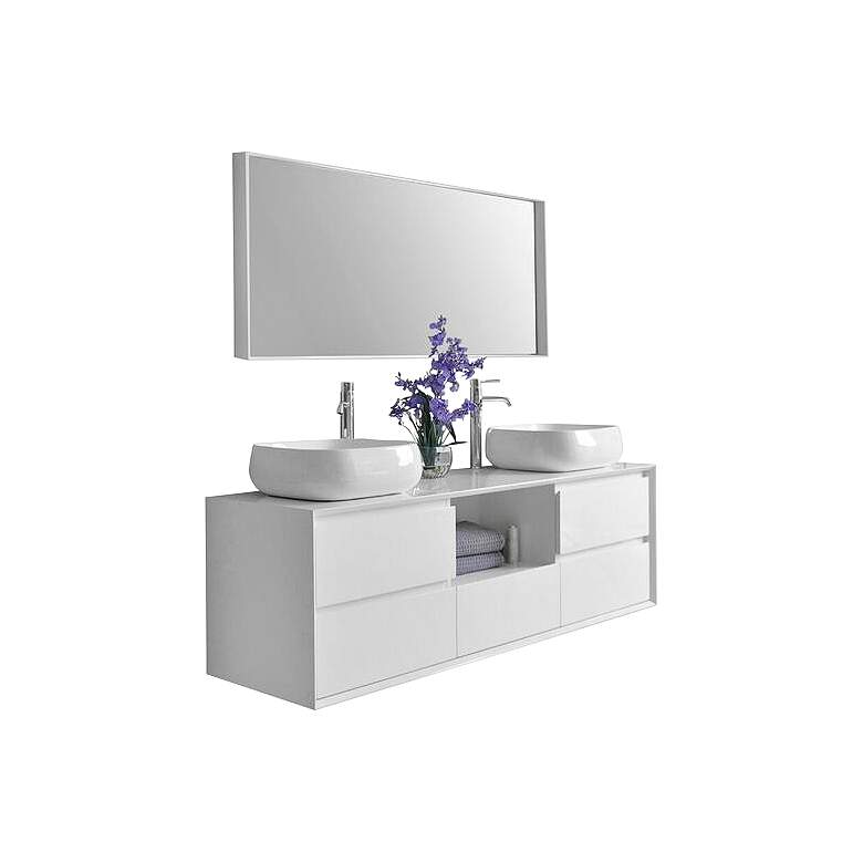 "Catherine 63"" White 5-Drawer Double Sink Vanity Set"