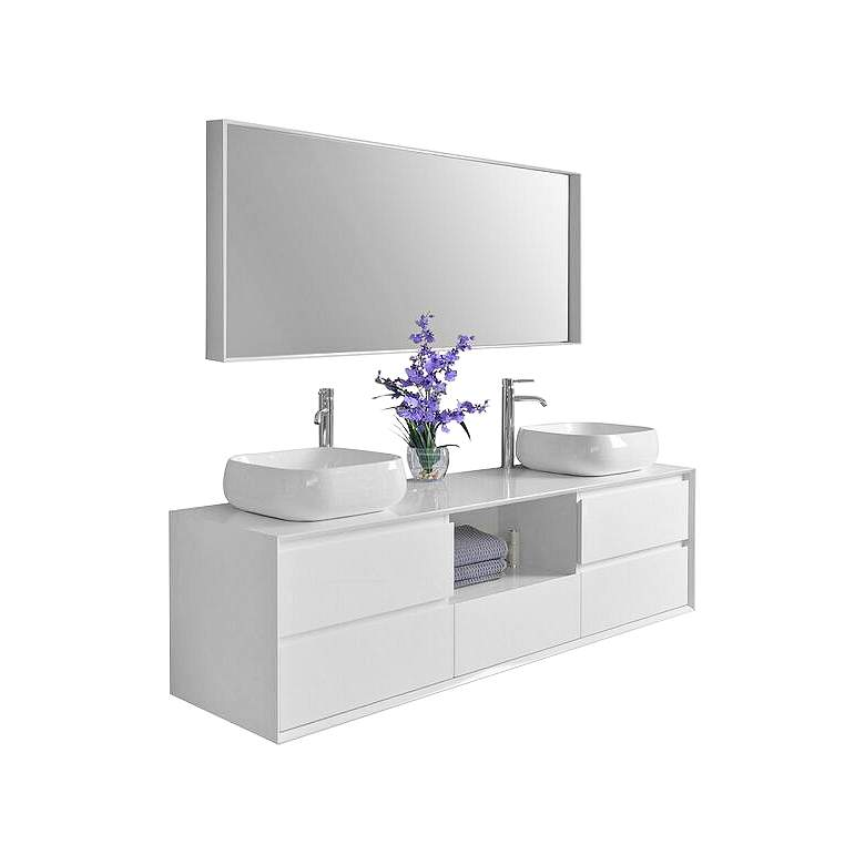 "Catherine 72"" White 5-Drawer Double Sink Vanity Set"
