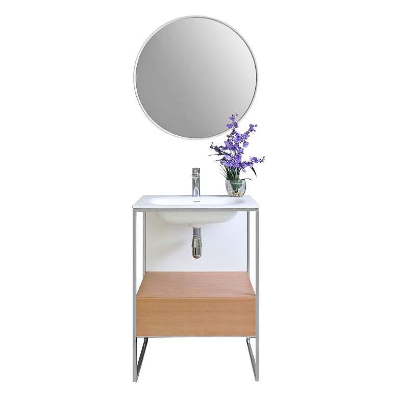 "Tory 24"" Natural Walnut 1-Drawer Single Sink Vanity Set"