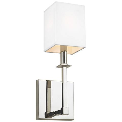 "Feiss Quinn 15"" High Polished Nickel Wall Sconce"