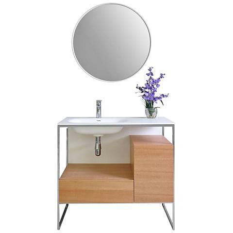 "Tory 36"" Natural Walnut 1-Drawer Single Sink Vanity Set"