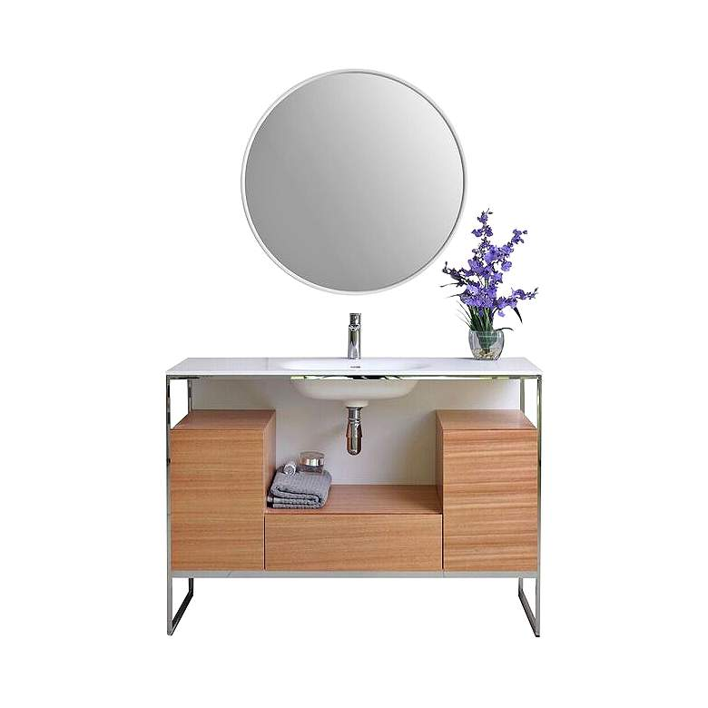 "Tory 48"" Walnut Wood 1-Drawer Single Sink Modern Vanity Set"