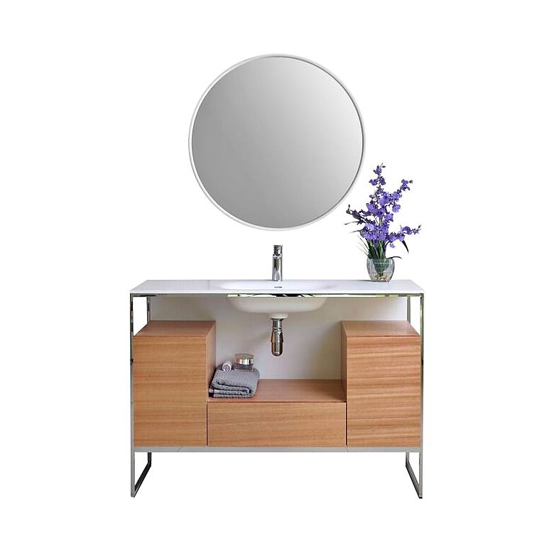 "Tory 48"" Walnut Wood 1-Drawer Single Sink Modern Vanity Set"