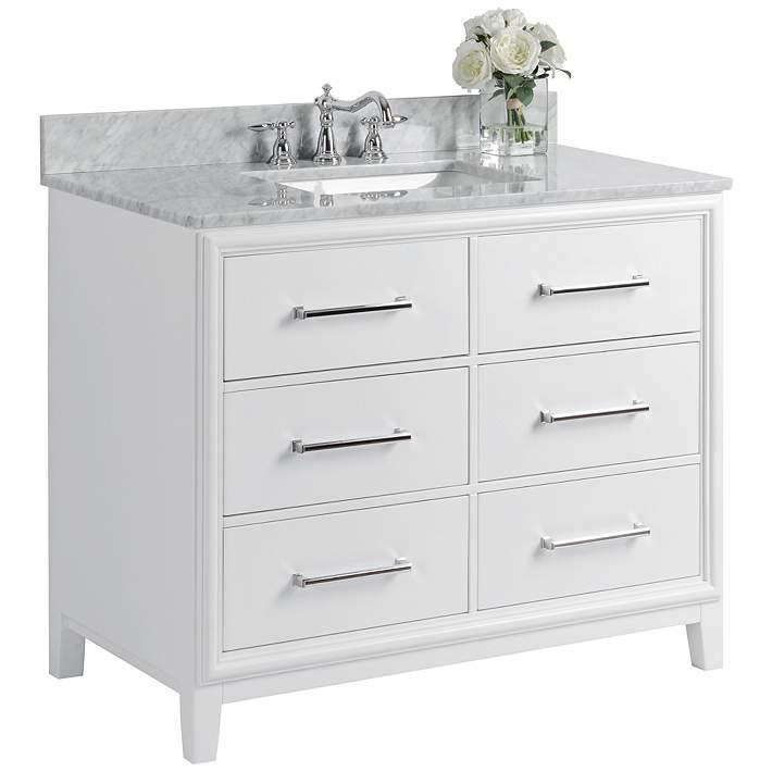 Ellie 42 White 6 Drawer Single Sink Vanity Set 37w22 Lamps Plus