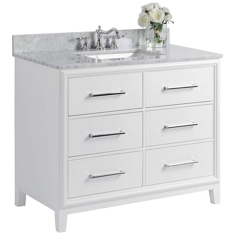 """Ellie 42"""" White 6-Drawer Single Sink Vanity Set"""