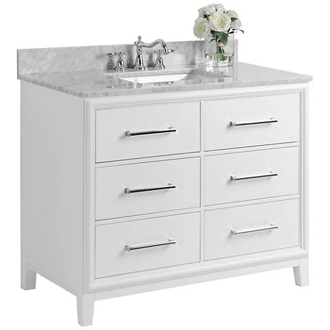 "Ellie 42"" White 6-Drawer Single Sink Vanity Set"