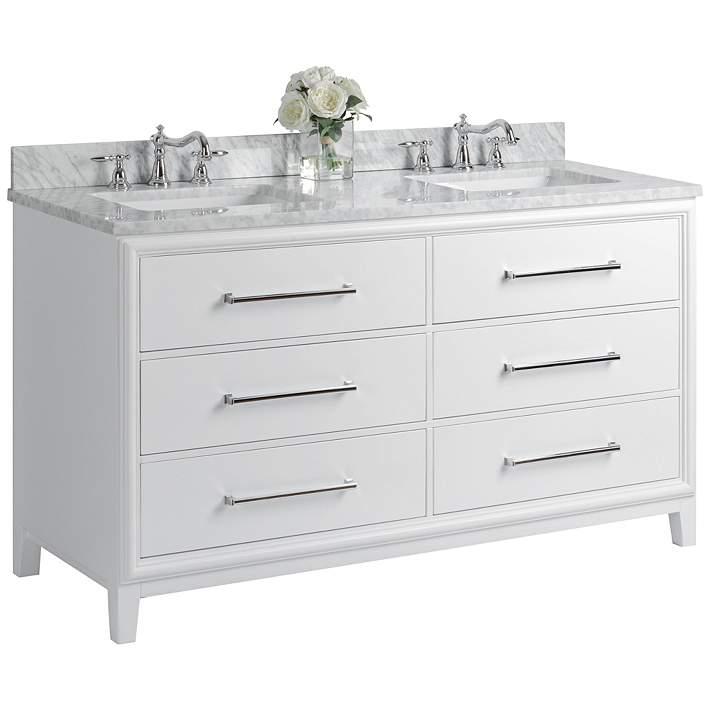 Ellie 60 White 6 Drawer Double Sink Vanity Set 37w24 Lamps Plus