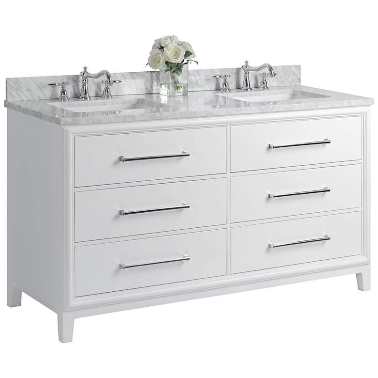 Ellie 60 White 6 Drawer Double Sink Vanity Set