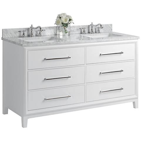 "Ellie 60"" White 6-Drawer Double Sink Vanity Set"
