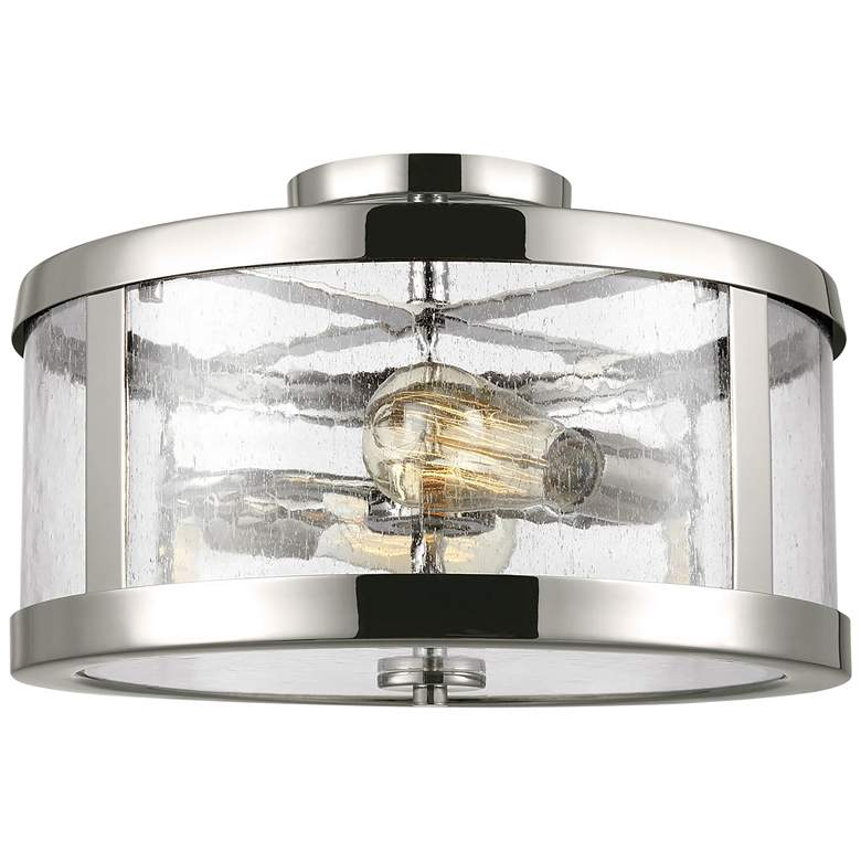 "Feiss Harrow 15"" Wide Polished Nickel 2-Light Ceiling Light"