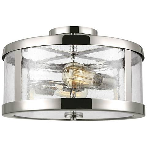 "Feiss Harrow 15"" Wide Polished Nickel 2-Light Ceiling Light"