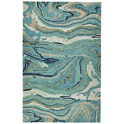 Kaleen Marble MBL03-91 Teal Wool Area Rug
